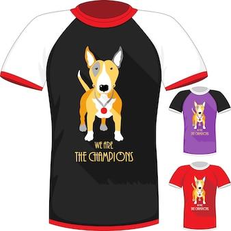 Camiseta vetorial com o campeão do cão bull terrier