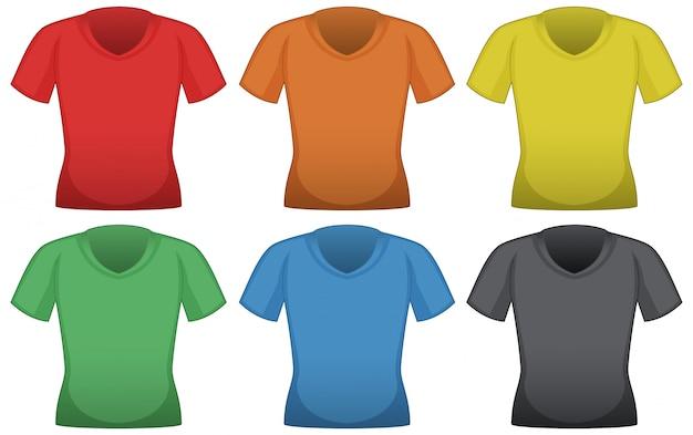 Camisetas em seis cores diferentes