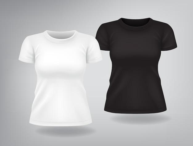 Camisetas femininas casuais brancas e pretas com mangas curtas simulada