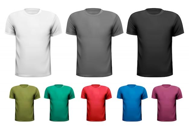 Camisetas masculinas em preto e branco e em cores. ilustração