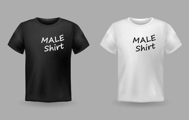 Camisetas masculinas realistas em tecido preto e branco