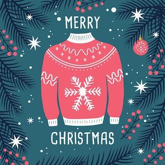 Camisola feia feliz natal com renas e ramos.