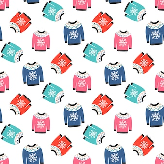 Camisolas coloridas quentes de inverno no padrão sem emenda
