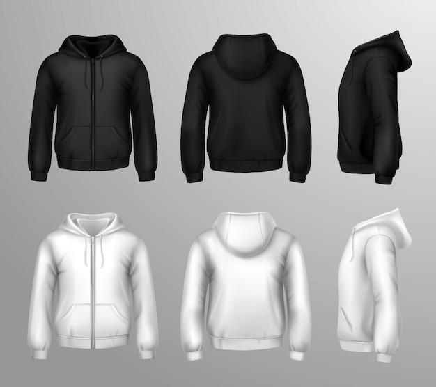 Camisolas com capuz masculinas preto e branco