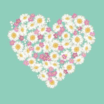 Camomila e esquecer-me-não forma floral do coração