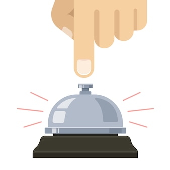 Campainha de mesa. mão pressiona a campainha. ligue para a equipe. ilustração vetorial plana