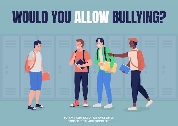 Campanha anti-bullying para modelo de vetor plano de pôster escolar