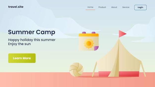 Campanha de acampamento de verão para modelo de banner da página inicial da página inicial do site da web