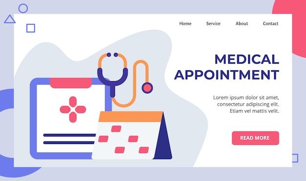 Campanha de calendário de agendamento de registro de consulta médica para página inicial da página inicial do website