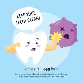 Campanha de cartaz sobre higiene das crianças. desenho de cartaz vetorial de escovação de dente e boca
