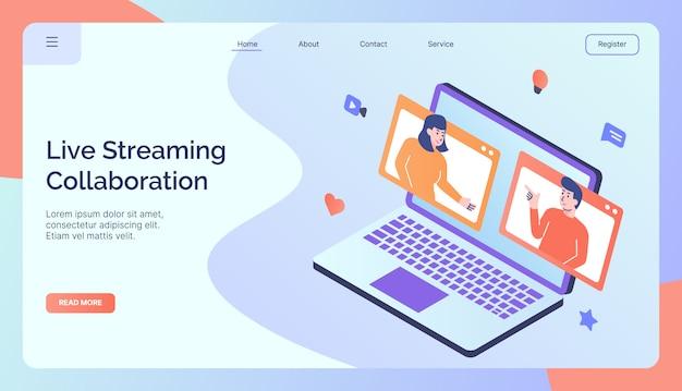 Campanha de colaboração de transmissão ao vivo para página inicial da página inicial do site da web banner da página de destino estilo colorido completo design plano moderno