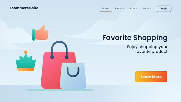 Campanha de compras favorita para folheto de modelo de banner de página de destino página inicial de website