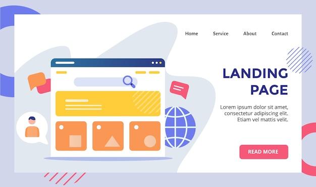 Campanha de conceito de monitor de interface de usuário de página de destino para modelo de página de destino de página inicial de site da web com plano