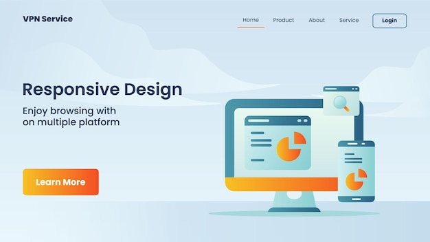 Campanha de design responsivo para modelo de página de destino da página inicial do site da web