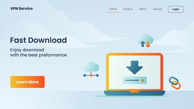 Campanha de download rápido para modelo de página de destino de página inicial de website