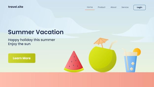Campanha de férias de verão para modelo de banner da página inicial da página inicial do site da web