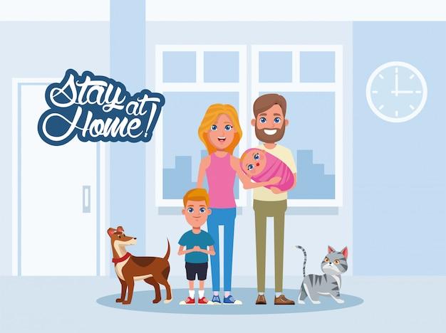 Campanha de ficar em casa com a família e animais de estimação