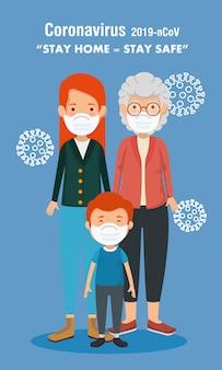 Campanha de ficar em casa com a família fofa usando máscara facial