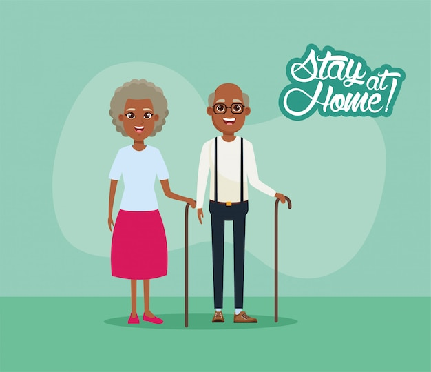 Campanha de ficar em casa com avós afro casal