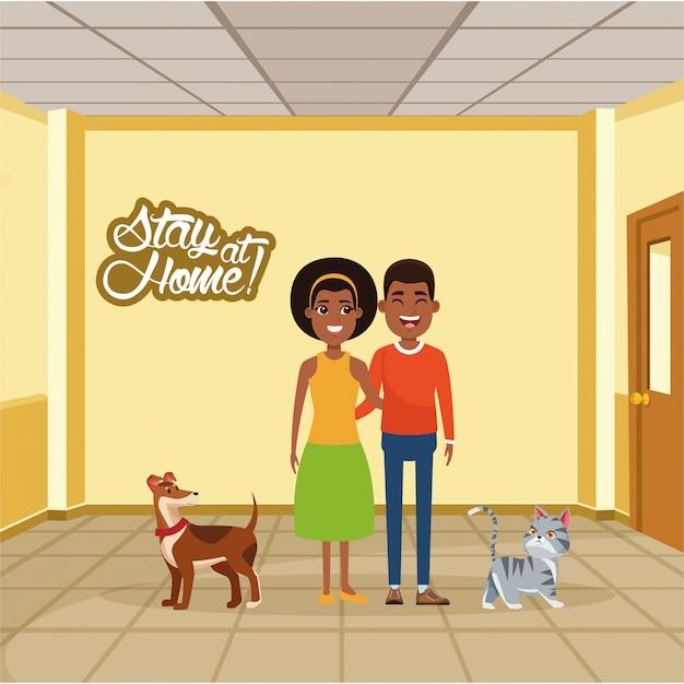 Campanha de ficar em casa com casal afro e animais de estimação