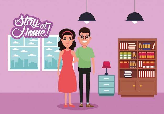 Campanha de ficar em casa com casal