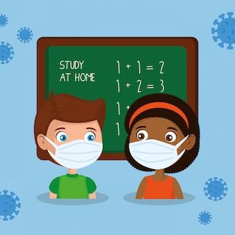 Campanha de ficar em casa com crianças estudando usando design de ilustração de máscara facial