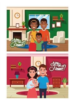 Campanha de ficar em casa com membros de famílias inter-raciais