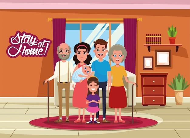 Campanha de ficar em casa com os membros da família