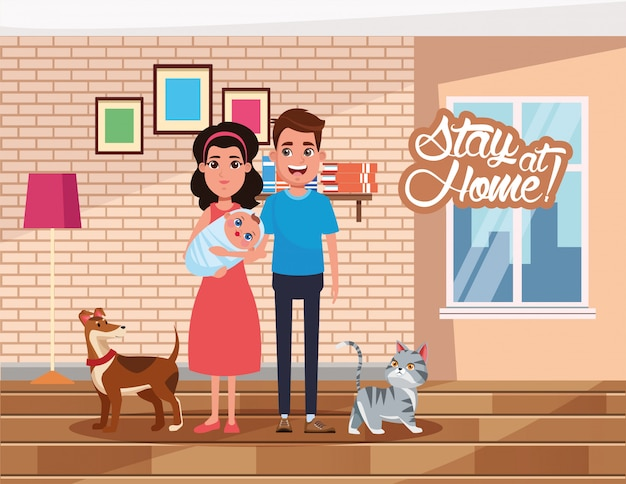 Campanha de ficar em casa com os pais levantando bebê e animais de estimação