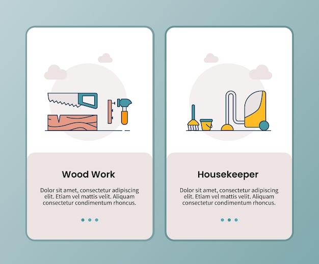 Campanha de governanta de trabalho em madeira para integração de modelo de aplicativo de aplicativos móveis