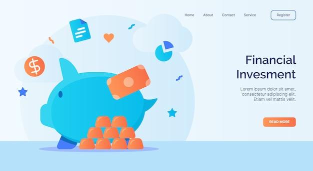 Campanha de ícone do cofrinho de investimento financeiro para o modelo de aterrissagem de página inicial do site web com estilo cartoon.