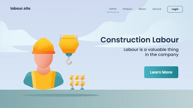 Campanha de mão de obra de construção para página inicial do site da web