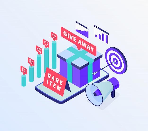 Campanha de marketing promocional digital para o setor de negócios de comércio eletrônico on-line com estilo isométrico