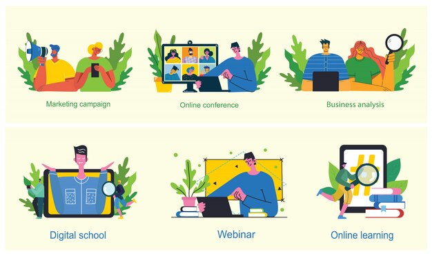 Campanha de marketing, videoconferência, ilustração do conceito de análise de negócios em design moderno, limpo e plano.
