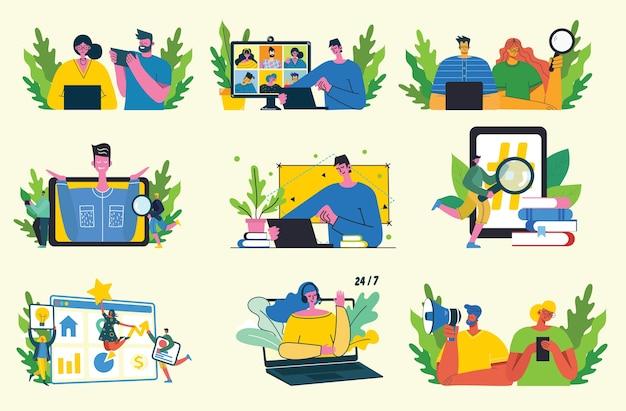 Campanha de marketing, videoconferência, ilustração do conceito de análise de negócios em design moderno plano e limpo. homens e mulheres usam laptop e tablet.