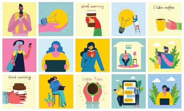 Campanha de marketing, videoconferência, ilustração do conceito de análise de negócios em design plano e limpo. homens e mulheres usam laptop e tablet no design plano.
