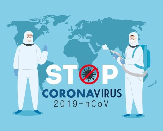 Campanha de parada com pessoas usando traje de risco biológico