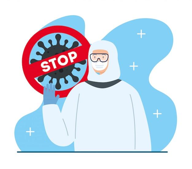 Campanha de parada e pessoa usando traje de risco biológico