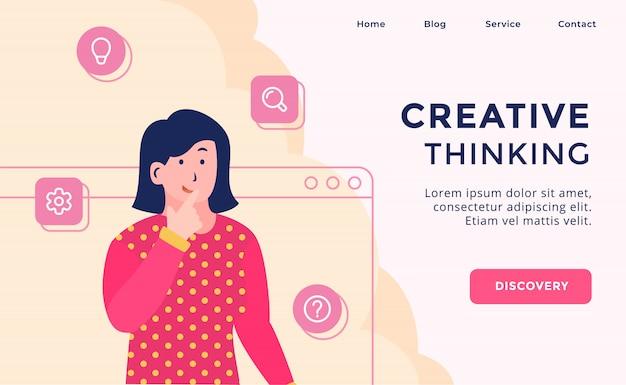 Campanha de pensamento criativo para página de modelo de site da web aterragem em casa com estilo cartoon moderno plana.