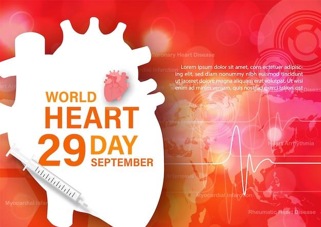 Campanha de pôster de conceito do dia mundial do coração em estilo de corte de papel e desenho vetorial