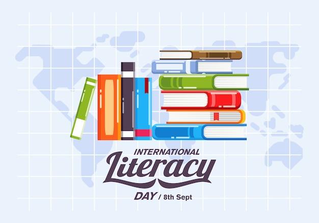 Campanha de pôster do dia internacional da alfabetização com pilha de livros e mapa-múndi como ilustração de fundo