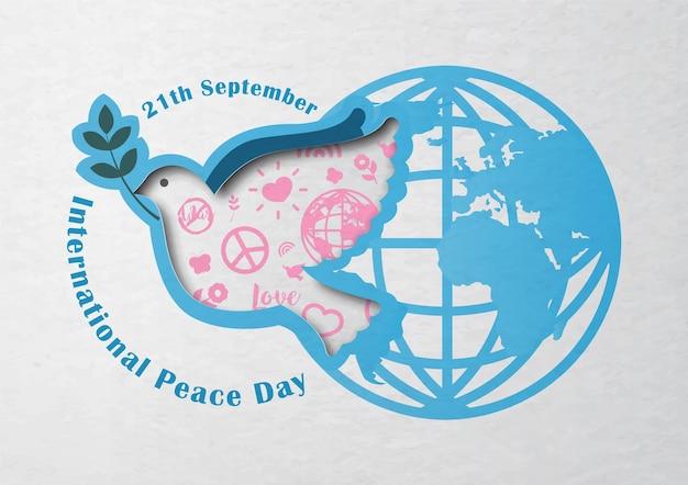 Campanha de pôster do dia internacional da paz em desenho vetorial