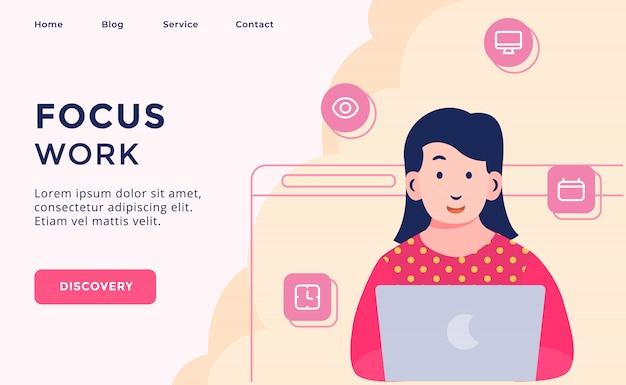 Campanha de processo criativo do trabalho foco para página de modelo de site web desembarque em casa homepage com estilo moderno desenho animado.