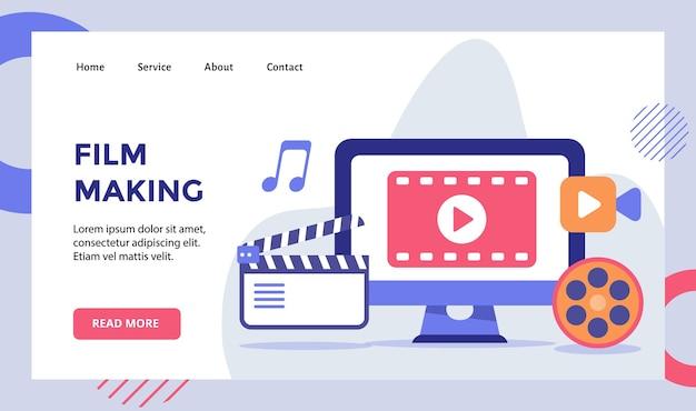 Campanha de produção de vídeo na tela do computador para página inicial da página inicial do website