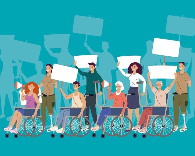 Campanha de protesto de oito pessoas com deficiência