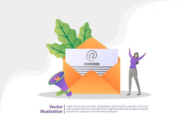 Campanha de publicidade por e-mail, e-marketing, atingindo o público-alvo com e-mails.