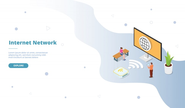 Campanha de rede internet para página de modelo de site da web, aterrissando a página inicial com estilo simples isométrico