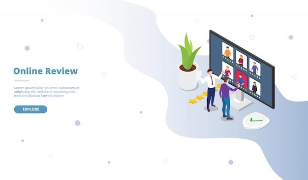 Campanha de revisão on-line para página de modelo de site da web aterrando a página inicial com estilo simples isométrico