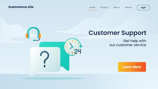Campanha de suporte ao cliente para panfleto de modelo de banner de página de destino da página inicial do site da web