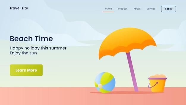 Campanha de tempo de praia para modelo de banner da página inicial da página inicial do site da web